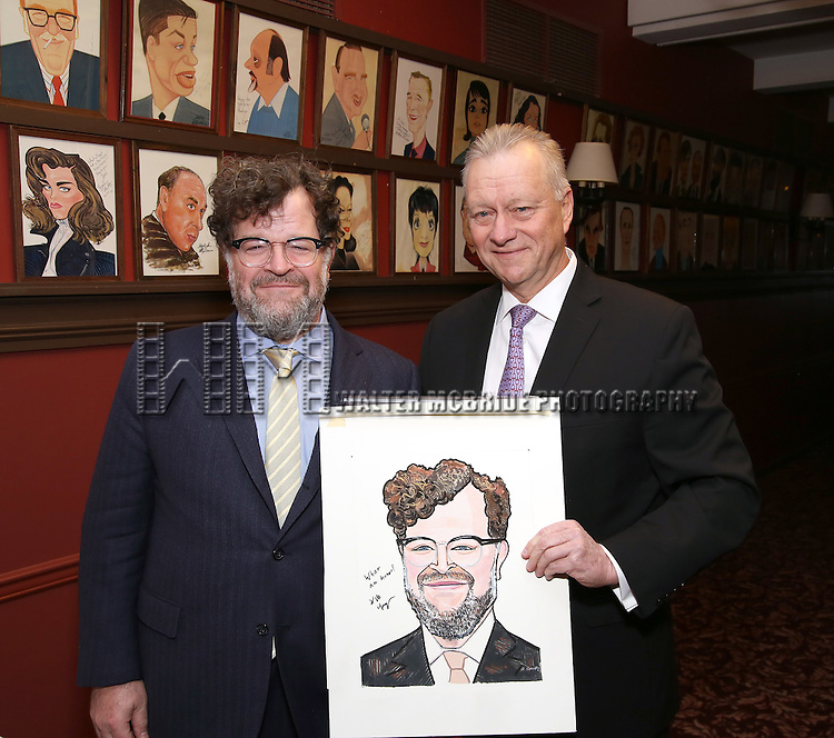 Kenneth Lonergan and Max Klimavicius attends the unveiling of the Kenneth Lonergan caricature at Sardi's on February 17, 2017 in New York City.