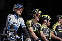 Matteo Trentin (ITA/Mitchelton Scott)at the pre race team presentation<br /> <br /> <br /> 62nd E3 Harelbeke 2019 (1.UWT)<br /> Harelbeke – Harelbeke: 203,9km<br /> ©kramon