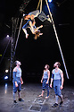 Ockham's Razor present TIPPING POINT, at Platform Theatre, as part of the London International Mime Festival. Picture shows: Alex Harvey, Emily Nicholl (aloft),  Nich Glazin, Telma Pinto, Steve Ryan