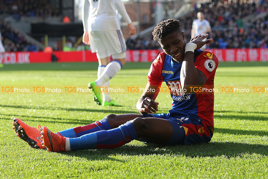 Wilfried Zaha of Crystal Palace goes down during Crystal Palace vs Sunderland AFC, Premier League Football at Selhurst Park on 4th February 2017