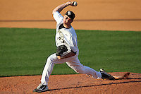 UCF Knights pitcher Matt Collins #43 delivers a pitch during a game against the Siena Saints at the UCF Baseball Complex on March 3, 2012 in Orlando, Florida.  UCF defeated Siena 6-4.  (Mike Janes/Four Seam Images)