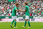 01.09.2019, wohninvest WESERSTADION, Bremen, GER, 1.FBL, Werder Bremen vs FC Augsburg<br /> <br /> DFL REGULATIONS PROHIBIT ANY USE OF PHOTOGRAPHS AS IMAGE SEQUENCES AND/OR QUASI-VIDEO.<br /> <br /> im Bild / picture shows<br /> Jubel 3:2, <br /> Yuya Osako (Werder Bremen #08) bejubelt seinen Treffer zum 3:2 mit Joshua Sargent (Werder Bremen #19), <br /> <br /> Foto © nordphoto / Ewert