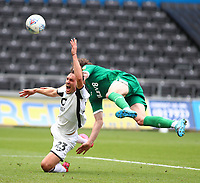 5th July 2020; Liberty Stadium, Swansea, Glamorgan, Wales; English Football League Championship, Swansea City versus Sheffield Wednesday; Connor Roberts of Swansea City is fouled by Adam Reach of Sheffield Wednesday in the box which is awarded a penalty