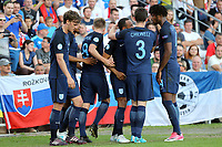 Nathan Redmond of England is congratulated after scoring the second goal during Slovakia Under-21 vs England Under-21, UEFA European Under-21 Championship Football at The Kolporter Arena on 19th June 2017