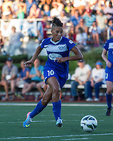 In a National Women's Soccer League Elite (NWSL) match, the Boston Breakers defeated the FC Kansas City, 1-0, at Dilboy Stadium on August 10, 2013.  Boston Breakers forward Lianne Sanderson (10).