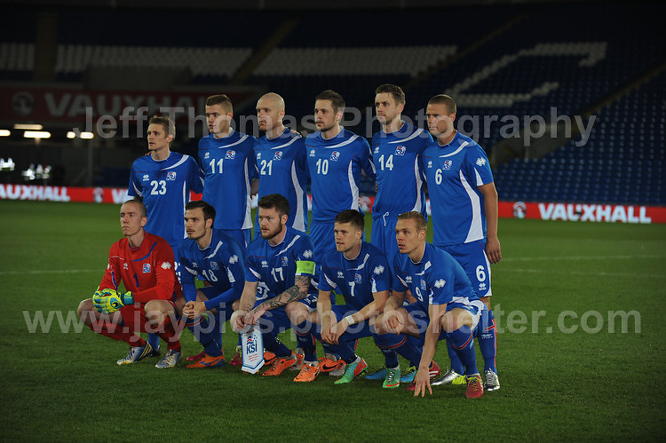 The Iceland team. Cardiff City Stadium, Cardiff, Wales, Wednesday 5th March 2014. The Football Association of Wales - Vauxhall International Friendly - Wales v Iceland. Pictures by Jeff Thomas Photography - www.jaypics.photoshelter.com - Contact: thomastwotimes@live.co.uk - 07837 386244