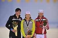 SCHAATSEN: SALT LAKE CITY: Utah Olympic Oval, 16-11-2013, Essent ISU World Cup, podium 500m, Heather Richardson (USA), Sang-Hwa Lee (KOR), Olga Fatkulina (RUS), ©foto Martin de Jong