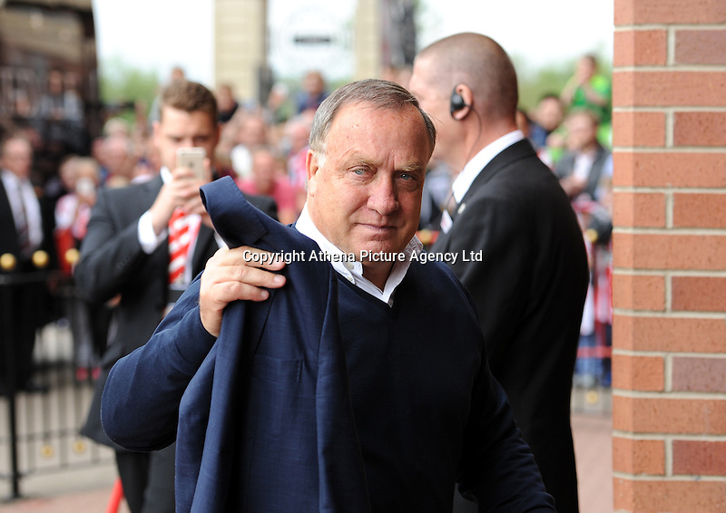 Dick Advocaat manager of Sunderland arrives at the Stadium of Light before kick off during the Barclays Premier League match between Sunderland and Swansea City played at Stadium of Light, Sunderland