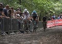 Race leaders Wout Van Aert (BEL/Crelan-Vastgoedservice) &amp; Michael Vanthourenhout (BEL/Marlux-NapoleonGames) up the infamous 'Muur van Geraardsbergen'<br /> <br /> Brico-cross Geraardsbergen 2016<br /> U23 + Elite Mens race