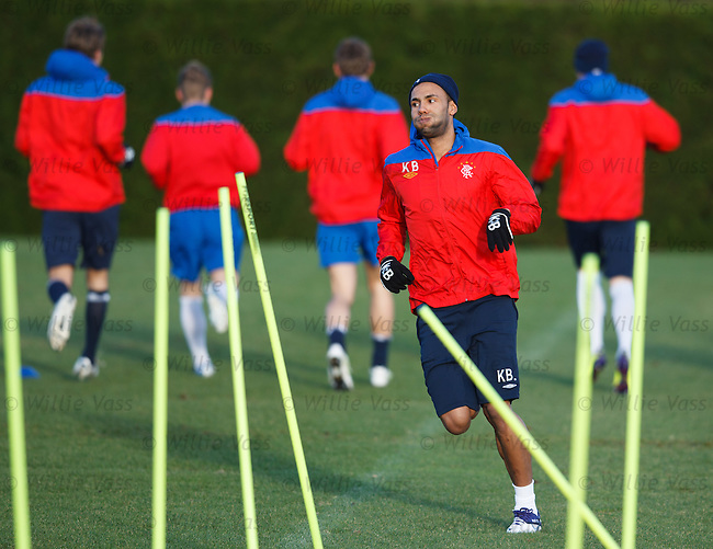 Kyle Bartley goes the wrong way at training as he guesses wrong
