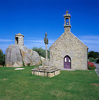France, Brittany, near Brignogan Plage: Chapel and traditional Breton Cross