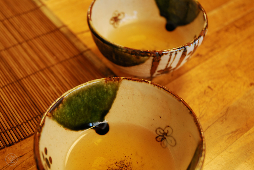 Tea served in beautiful little cups, Kyoto, Japan.