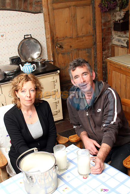David and Mairead Tiernan, Tiernan Family Farm, Dunleer drinking raw milk on their farm...Picture Jenny Matthews/Newsfile.ie