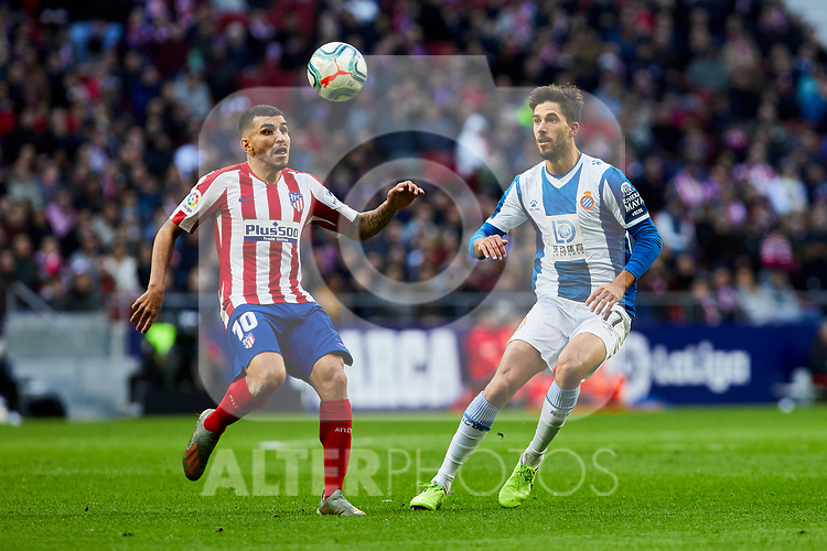 Angel Martin Correa of Atletico de Madrid and Dídac Vila of RCD Espanyol during La Liga match between Atletico de Madrid and RCD Espanyol at Wanda Metropolitano Stadium in Madrid, Spain. November 10, 2019. (ALTERPHOTOS/A. Perez Meca)