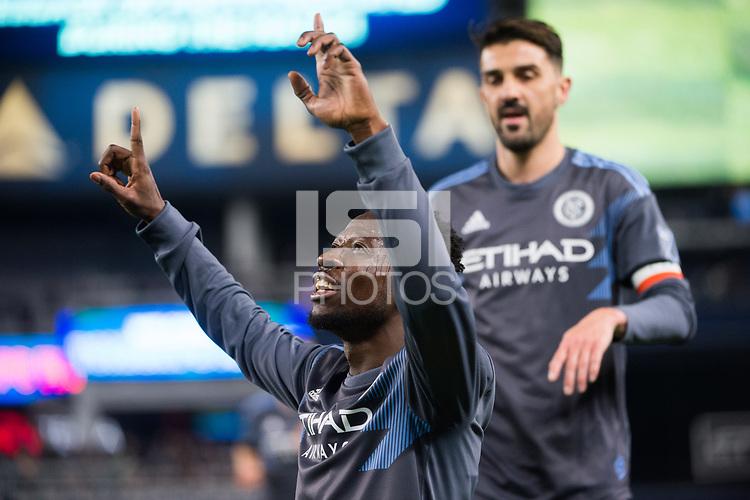 BRONX, New York - Saturday, April 11, 2018: New York City FC defeats Real Salt Lake 4-0 at home at Yankee Stadium during the MLS regular season.