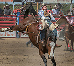Bareback rider Cody Kiser from Carson City, Nevada at the 68th annual Oakdale Saddle Club Rodeo on Sunday, April 14, 2019.  (Al Golub/Record Photo)