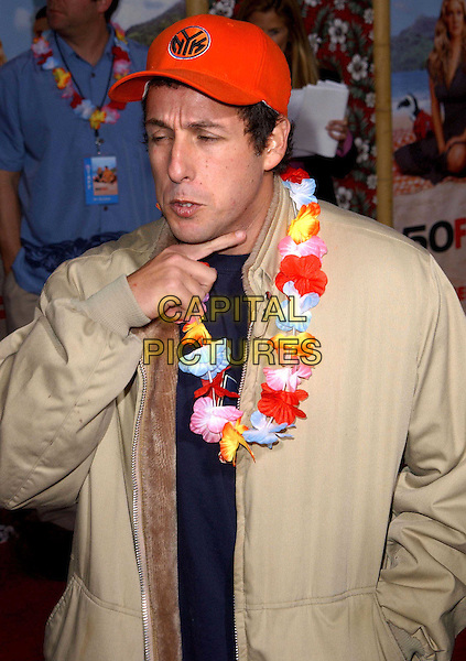 ADAM SANDLER.Los Angeles Premiere of 50 First Dates held at The Mann Village Theatre in Westwood, California.3 February 2004  .*UK Sales Only*.half length, half-length, funny, flower garland, baseball cap hat.www.capitalpictures.com.sales@capitalpictures.com.©Capital Pictures.