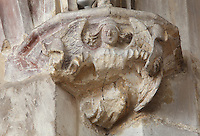 Carved capital depiting an angel holding a scroll, possibly 15th century, in the transept of the Collegiate Church of Saint-Gervais-Saint-Protais, built 12th to 16th centuries in Gothic and Renaissance styles, in Gisors, Eure, Haute-Normandie, France. The church was consecrated in 1119 by Calixtus II but the nave was rebuilt from 1160 after a fire. The church was listed as a historic monument in 1840. Picture by Manuel Cohen