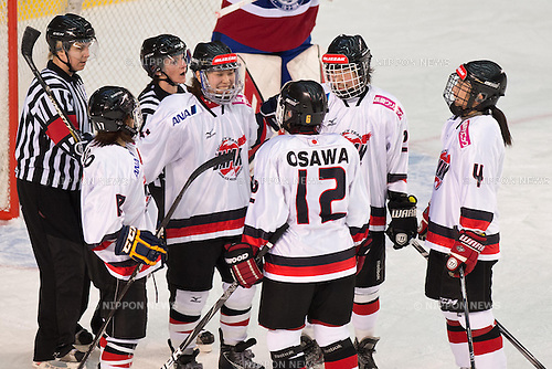 Japan team group (JPN), .FEBRUARY 7, 2013 - Ice Hockey : .Japan team group celebrates after the their first goal during the Women's Olympic Ice Hockey Qualification Tournament 2013, Group C, match between Norway 3-4 Japan at Ice Stadium, Poprad, Slovakia, (Photo by Enrico Calderoni/AFLO SPORT)