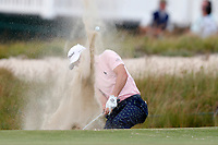Justin Thomas (USA) hits out of a sand trap on the 16th hole during the first round of the 118th U.S. Open Championship at Shinnecock Hills Golf Club in Southampton, NY, USA. 14th June 2018.<br /> Picture: Golffile | Brian Spurlock<br /> <br /> <br /> All photo usage must carry mandatory copyright credit (&copy; Golffile | Brian Spurlock)