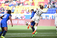 Harrison, NJ - Saturday, March 04, 2017: Amandine Henry, Kathrin Hendrich during a SheBelieves Cup match between the women's national teams of France (FRA) and Germany (GER) at Red Bull Arena.