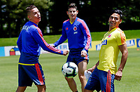 BOGOTA, COLOMBIA - JUNE 5: Colombia's national team soccer players Falcao Garcia (2R), Matheus Uribe (L), James Rodriguez (2L) and Edwin Cardona (R), attend a training session on June 5, 2019 in Bogota, Colombia. Colombia will face Argentina, Paraguay and Qatar on their first stage of the Copa America Brazil 2019.   (Photo by VIEWPRESS/Leonardo Muñoz)