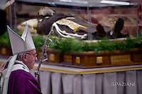 The transparent coffin of St Padre Pio in St Peter's basilica,a the Vatican. Pope Francis leads the mass for Ash Wednesday, opening Lent, the forty-day period of abstinence and deprivation for the Christians, before the Holy Week and Easter on February,10, 2016