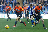 (L-R) Daniel James of and Oli McBurnie of Swansea City in action during the Sky Bet Championship match between Sheffield Wednesday and Swansea City at Hillsborough Stadium, Sheffield, England, UK. Saturday 23 February 2019