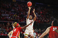 College Park, MD - March 23, 2019: Maryland Terrapins guard Kaila Charles (5) makes a jump shot during game between Radford and Maryland at  Xfinity Center in College Park, MD.  (Photo by Elliott Brown/Media Images International)
