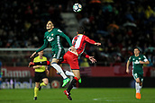 13th April 2018, Estadi Montilivi, Girona, Spain; La Liga football, Girona versus Real Betis; Marc Bartra of Betis and Cristhian Stuani of Girona challenge for an aerial ball