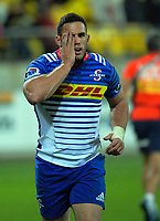 Shaun Treeby goes off with an eye injury during the Super Rugby match between the Hurricanes and Stormers at Westpac Stadium in Wellington, New Zealand on Friday, 5 May 2017. Photo: Dave Lintott / lintottphoto.co.nz