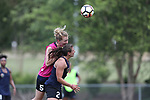 CARY, NC - MAY 10: Samantha Mewis (5) and Maria Lubrano (29). The North Carolina Courage held a training session on May 10, 2017, at WakeMed Soccer Park Field 7 in Cary, NC.