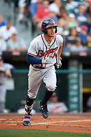 Gwinnett Braves third baseman Rio Ruiz (14) runs to first base during a game against the Buffalo Bisons on August 19, 2017 at Coca-Cola Field in Buffalo, New York.  Gwinnett defeated Buffalo 1-0.  (Mike Janes/Four Seam Images)