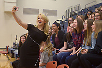 NWA Democrat-Gazette/BEN GOFF @NWABENGOFF<br /> Miss America Savvy Shields of Fayetteville takes a selfie with students Monday, May 1, 2017, during a presentaiton with Gov. Asa Hutchinson at Fulbright Junior High in Bentonville to kick off a new initiative called 'Healthy Active Arkansas.'
