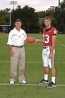 7 August 2006: Stanford Cardinal head coach Walt Harris and Kenny Long during Stanford Football's Team Photo Day at Stanford Football's Practice Field in Stanford, CA.
