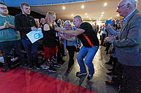 Pictured: A party supporter takes a selfie while Anne Widdecombe walks to the stage. Tuesday 30 April 2019<br /> Re: Nigel Farage and Anne Widdecombe at the Brexit Party rally at The Neon in Clarence Place in Newport, south Wales, UK.