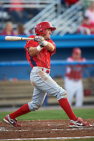 Williamsport Crosscutters outfielder Kyle Hoppy #9 during a NY-Penn League game against the Batavia Muckdogs at Dwyer Stadium on August 24, 2012 in Batavia, New York.  Williamsport defeated Batavia 7-4.  (Mike Janes/Four Seam Images)