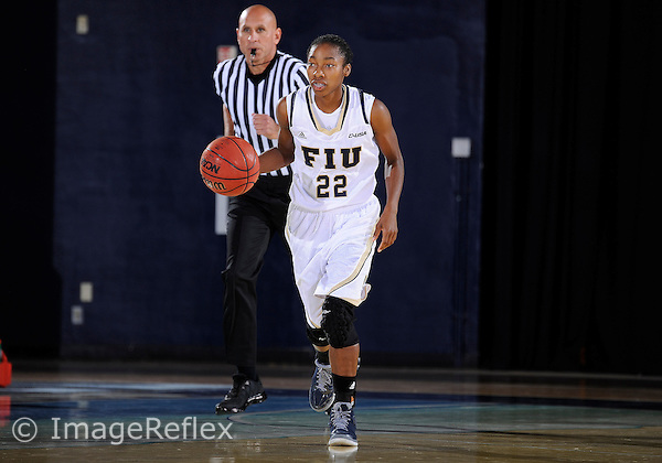 Florida International University guard Jerica Coley (22) plays against Nova Southeastern University. FIU won the game 75-69 on October 27, 2013 at Miami, Florida.