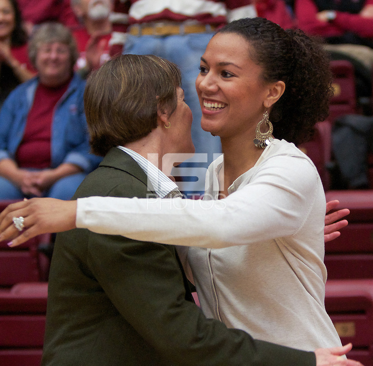STANFORD, CA:  Rosalyn Gold-Onwude after her interview with Head Coach Tara VanDerveer after Stanford's 77-40 victory over Fresno State at Stanford, California on December 12, 2010.