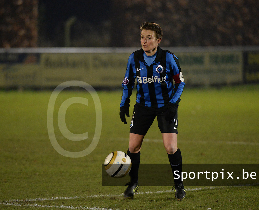 20131213 - VARSENARE , BELGIUM : Brugge's Christine Saelens pictured during the female soccer match between Club Brugge Vrouwen and PEC Zwolle Ladies , of  matchday 14  in the BENELEAGUE competition. Friday 13th December 2013. PHOTO DAVID CATRY