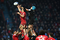 Zach Mercer of Bath Rugby competes for the ball at a lineout. Heineken Champions Cup match, between Stade Toulousain and Bath Rugby on January 20, 2019 at the Stade Ernest Wallon in Toulouse, France. Photo by: Patrick Khachfe / Onside Images