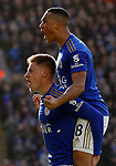 Harvey Barnes of Leicester City celebrates his goal against Chelsea with Youri Tielemans during the Premier League match at the King Power Stadium, Leicester. Picture date: 1st February 2020. Picture credit should read: Darren Staples/Sportimage