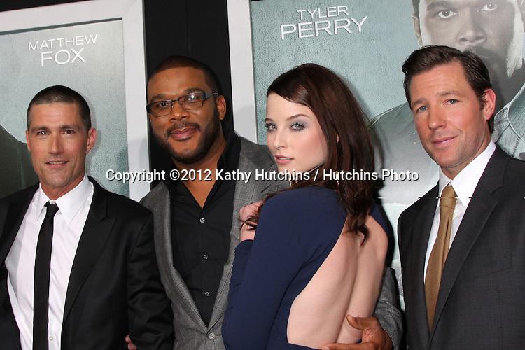 "LOS ANGELES - OCT 15:  Matthew Fox, Tyler Perry, Rachel Nichols. Edward Burns arrives at the ""Alex Cross"" Premiere at ArcLight Cinemas Cinerama Dome on October 15, 2012 in Los Angeles, CA"