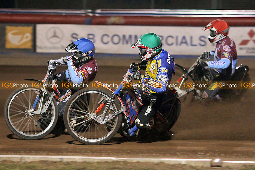 Heat 4: Robson (blue), Shields (red) and Dryml - Lakeside Hammers vs Eastbourne Eagles - Sky Sports Elite League Speedway at Arena Essex Raceway, Purfleet - 04/09/09 - MANDATORY CREDIT: Gavin Ellis/TGSPHOTO - Self billing applies where appropriate - Tel: 0845 094 6026