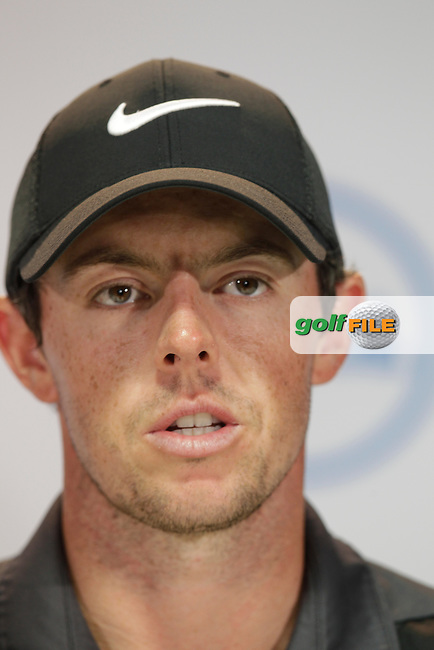 Rory McIlroy (NIR) speaking to the media after his win in round 5 against Chris Kirk (USA) 4&amp;3 at the WGC Dell Matchplay championship, austin Country club, Austin, Texas, USA. 26/03/2016.<br /> Picture: Golffile | Fran Caffrey<br /> <br /> <br /> All photo usage must carry mandatory copyright credit (&copy; Golffile | Fran Caffrey)