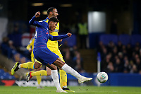 Tino Anjorin of Chelsea takes a shot at the AFC Wimbledon goal during Chelsea Under-21 vs AFC Wimbledon, Checkatrade Trophy Football at Stamford Bridge on 4th December 2018