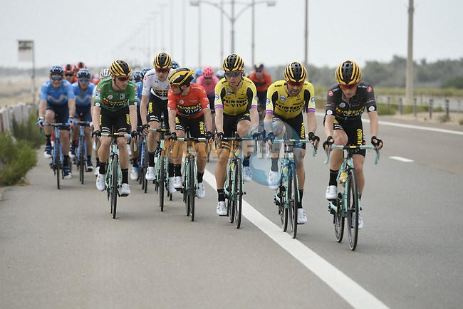 Team Jumbo-Visma on the front of the bunch during Stage 2 of the 2019 UAE Tour, running 184km form Yas Island Yas Mall to Abu Dhabi Breakwater Big Flag, Abu Dhabi, United Arab Emirates. 25th February 2019.<br /> Picture: LaPresse/Fabio Ferrari | Cyclefile<br /> <br /> <br /> All photos usage must carry mandatory copyright credit (© Cyclefile | LaPresse/Fabio Ferrari)