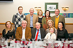 HAPPY BIRTHDAY: Frank Dowling, Castlecountess, Tralee (seated centre) who celebrated his 90th birthday last Saturday night with family and friends in the Kerin's O'Rahilly's GAA clubhouse. Seated l-r: Cora, Kieran, Frank, Grainne, Oscar and Bridget Dowling (Oscar is Frank's great grand son). Back l-r: Frank Dowling (Frank's grand son) with Niall, Sarah, Morin and Brian Dowling.