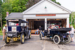 WOODBURY, CT. 16 July 2019-071619 - A couple of Stanley Steamers stop at the Hotchkissville Firehouse in Woodbury to fill up with water on Tuesday. The Steamers need to stop every 35-50 miles to fill up with water as they operate by steam. A large group of owners of Stanley Steamers from around the country have gathered driving around the area touring the Litchfield Hills. Bill Shettle Republican-American