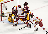 Hunter Miska (UMD - 35), Liam Finlay (DU - 13), Willie Raskob (UMD - 15), Tyson McLellan (DU - 9) - The University of Denver Pioneers defeated the University of Minnesota Duluth Bulldogs 3-2 to win the national championship on Saturday, April 8, 2017, at the United Center in Chicago, Illinois.